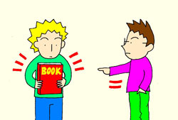 Who has the book? He has